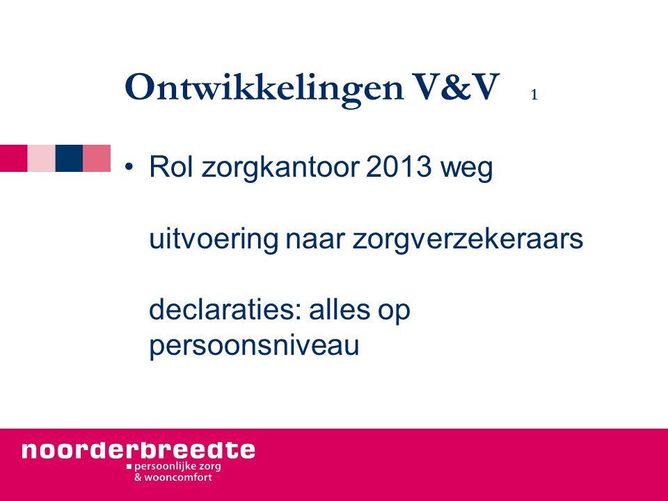 Ontwikkelingen V&V 1 Rol zorgkantoor 2013 weg uitvoering naar zorgverzekeraars declaraties: alles op persoonsniveau