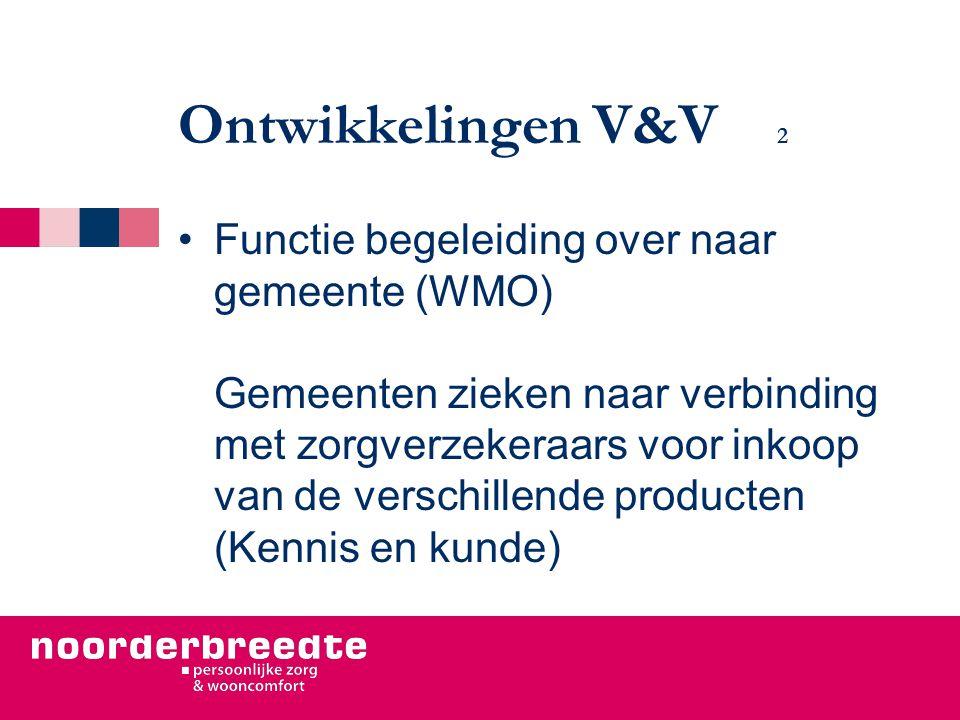 Ontwikkelingen V&V 2 Functie begeleiding over naar gemeente (WMO) Gemeenten zieken naar verbinding met zorgverzekeraars voor inkoop van de verschillende producten (Kennis en kunde)