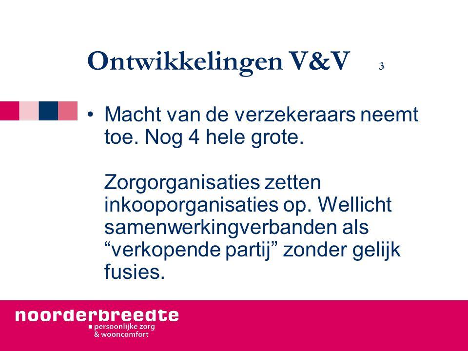 Ontwikkelingen V&V 3 Macht van de verzekeraars neemt toe.