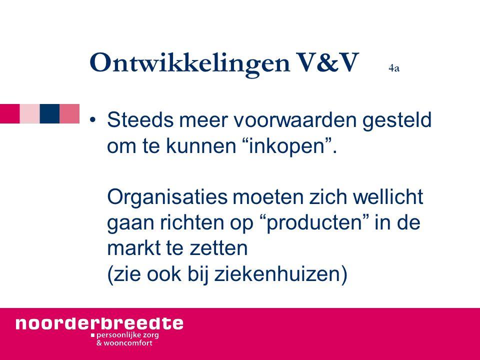 """Ontwikkelingen V&V 4a Steeds meer voorwaarden gesteld om te kunnen """"inkopen"""". Organisaties moeten zich wellicht gaan richten op """"producten"""" in de mark"""