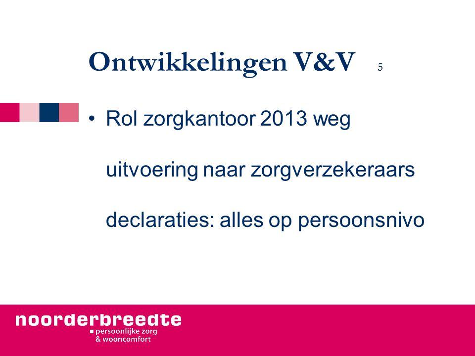 Ontwikkelingen V&V 5 Rol zorgkantoor 2013 weg uitvoering naar zorgverzekeraars declaraties: alles op persoonsnivo