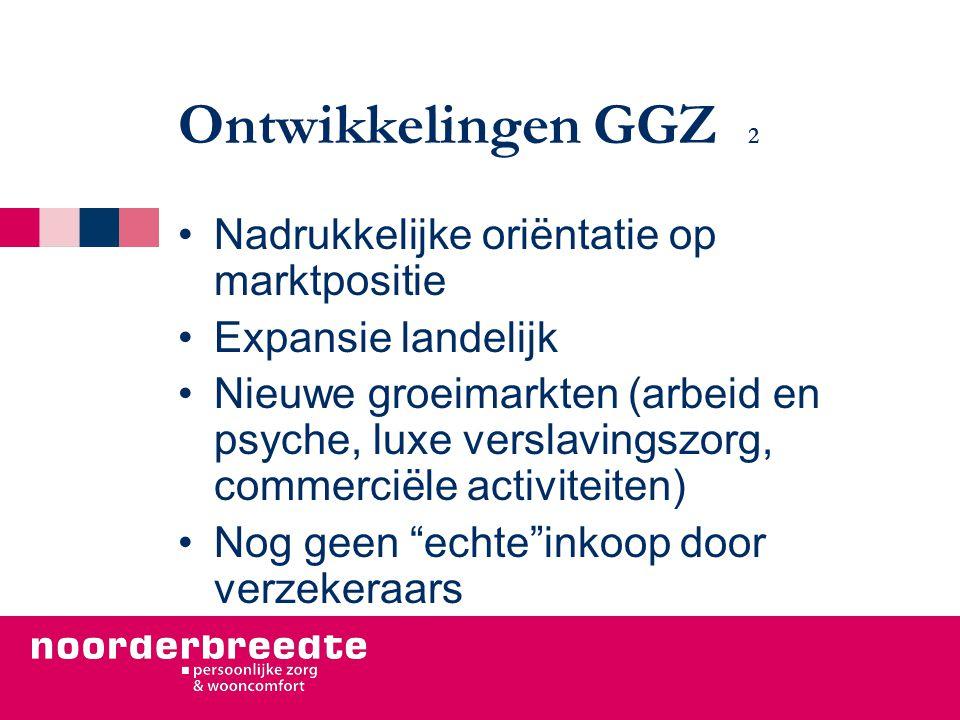 Ontwikkelingen GGZ 2 Nadrukkelijke oriëntatie op marktpositie Expansie landelijk Nieuwe groeimarkten (arbeid en psyche, luxe verslavingszorg, commerciële activiteiten) Nog geen echte inkoop door verzekeraars