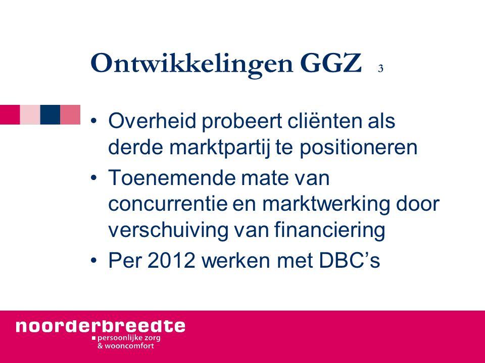 Ontwikkelingen GGZ 3 Overheid probeert cliënten als derde marktpartij te positioneren Toenemende mate van concurrentie en marktwerking door verschuiving van financiering Per 2012 werken met DBC's