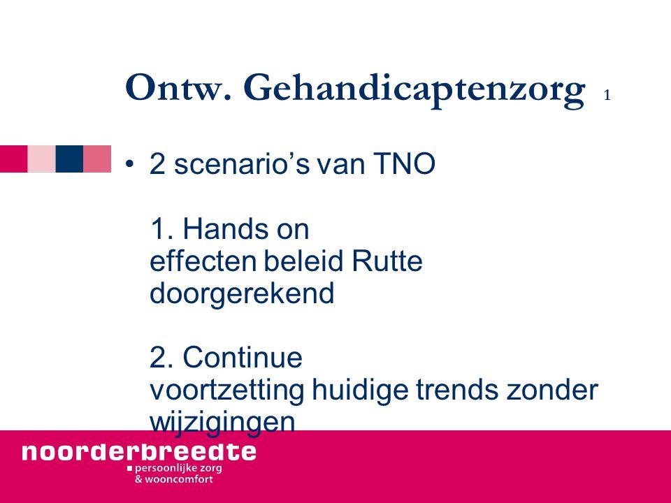Ontw. Gehandicaptenzorg 1 2 scenario's van TNO 1. Hands on effecten beleid Rutte doorgerekend 2. Continue voortzetting huidige trends zonder wijziging