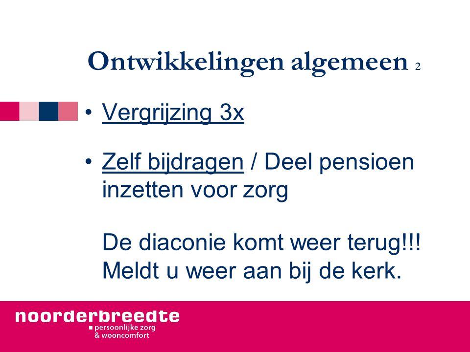 Ontwikkelingen algemeen 2 Vergrijzing 3x Zelf bijdragen / Deel pensioen inzetten voor zorg De diaconie komt weer terug!!! Meldt u weer aan bij de kerk