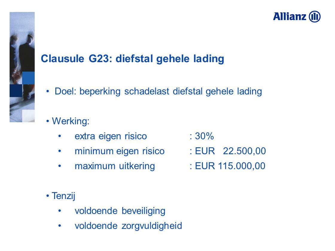 Clausule G23: diefstal gehele lading Doel: beperking schadelast diefstal gehele lading Werking: extra eigen risico : 30% minimum eigen risico: EUR 22.