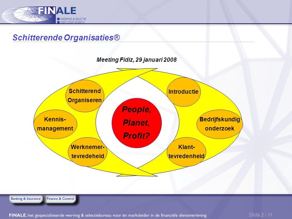 Slide 2 / 11 Schitterende Organisaties® Schitterend Organiseren Kennis- management Werknemer- tevredeheid Klant- tevredenheid Bedrijfskundig onderzoek