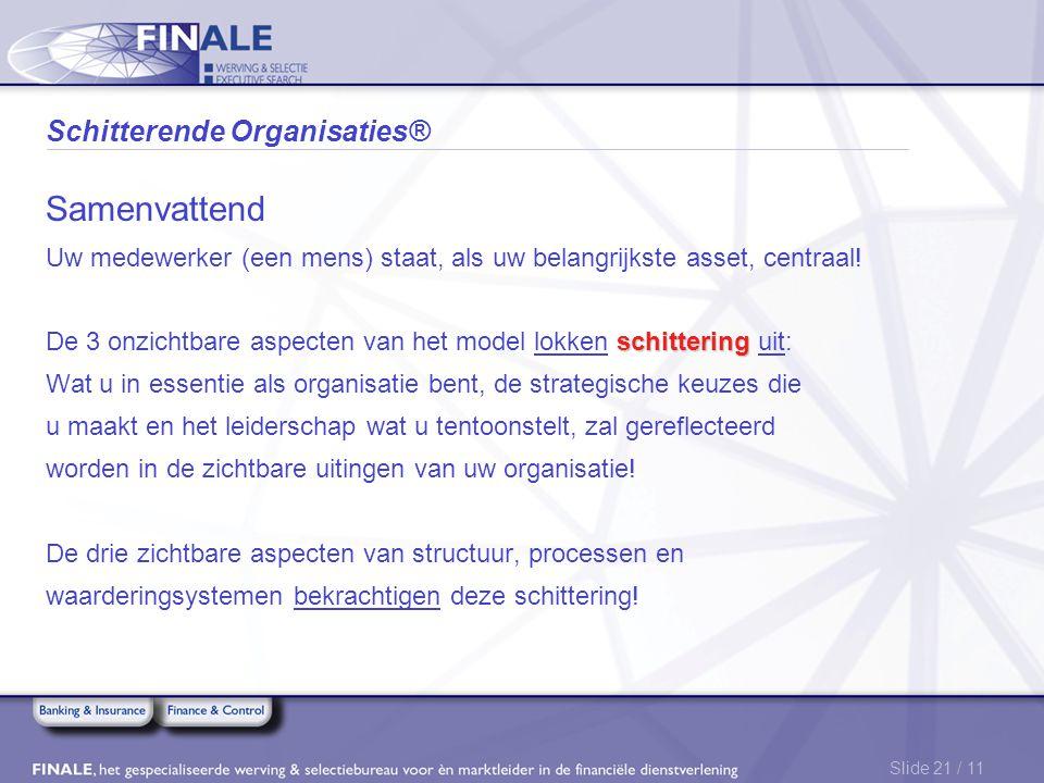 Slide 21 / 11 Schitterende Organisaties® Samenvattend Uw medewerker (een mens) staat, als uw belangrijkste asset, centraal! schittering De 3 onzichtba