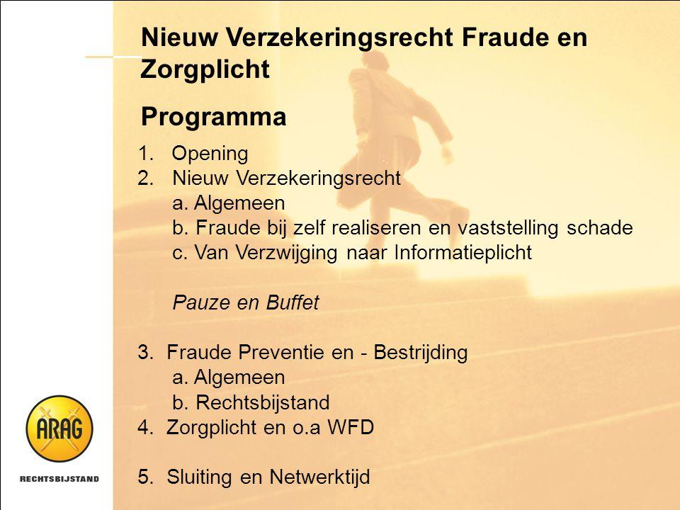 Nieuw Verzekeringsrecht Fraude en Zorgplicht Programma 1.Opening 2. Nieuw Verzekeringsrecht a. Algemeen b. Fraude bij zelf realiseren en vaststelling