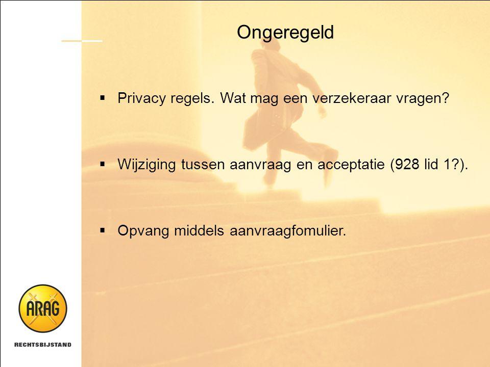 Ongeregeld  Privacy regels. Wat mag een verzekeraar vragen?  Wijziging tussen aanvraag en acceptatie (928 lid 1?).  Opvang middels aanvraagfomulier