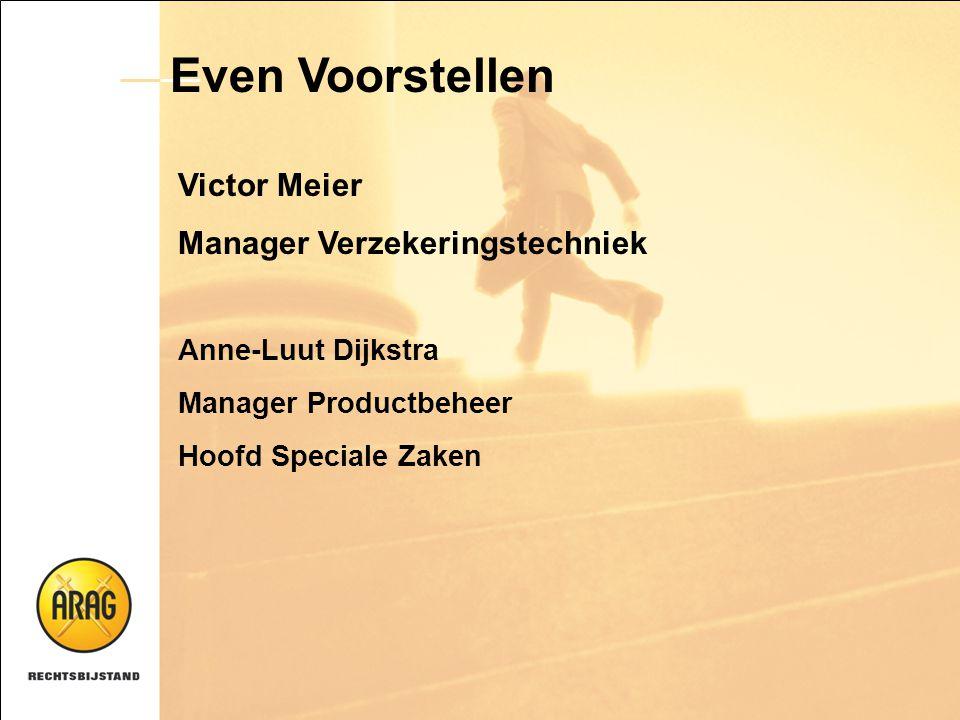 Even Voorstellen Victor Meier Manager Verzekeringstechniek Anne-Luut Dijkstra Manager Productbeheer Hoofd Speciale Zaken
