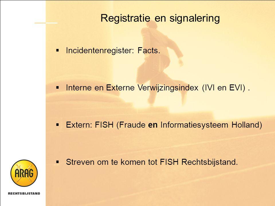 Registratie en signalering  Incidentenregister: Facts.  Interne en Externe Verwijzingsindex (IVI en EVI).  Extern: FISH (Fraude en Informatiesystee