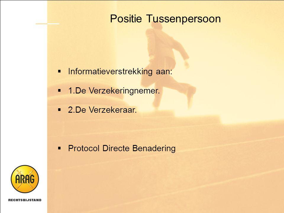 Positie Tussenpersoon  Informatieverstrekking aan:  1.De Verzekeringnemer.  2.De Verzekeraar.  Protocol Directe Benadering