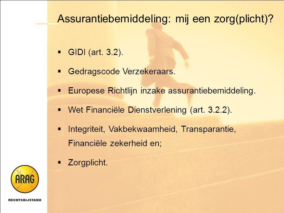 Assurantiebemiddeling: mij een zorg(plicht)?  GIDI (art. 3.2).  Gedragscode Verzekeraars.  Europese Richtlijn inzake assurantiebemiddeling.  Wet F