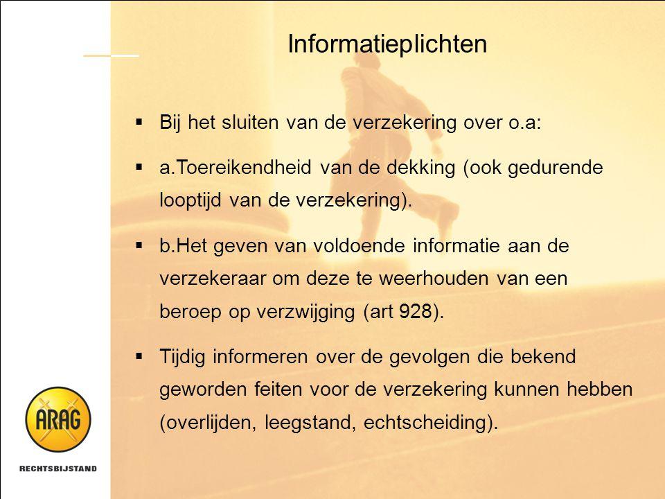 Informatieplichten  Bij het sluiten van de verzekering over o.a:  a.Toereikendheid van de dekking (ook gedurende looptijd van de verzekering).  b.H