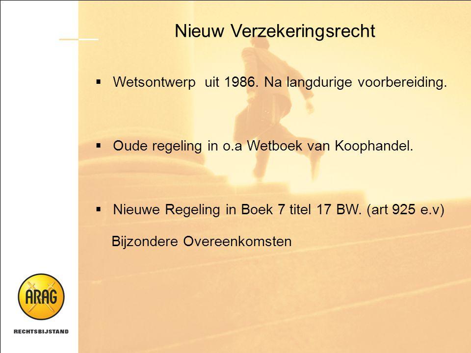 Nieuw Verzekeringsrecht  Wetsontwerp uit 1986. Na langdurige voorbereiding.  Oude regeling in o.a Wetboek van Koophandel.  Nieuwe Regeling in Boek