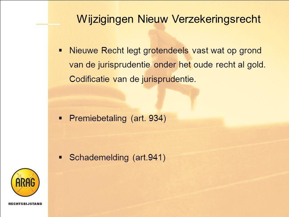 Wijzigingen Nieuw Verzekeringsrecht  Nieuwe Recht legt grotendeels vast wat op grond van de jurisprudentie onder het oude recht al gold. Codificatie