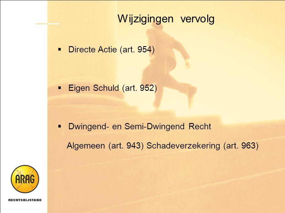Wijzigingen vervolg  Directe Actie (art. 954)  Eigen Schuld (art. 952)  Dwingend- en Semi-Dwingend Recht Algemeen (art. 943) Schadeverzekering (art