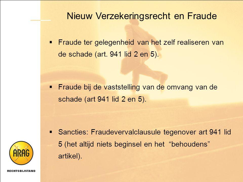 Nieuw Verzekeringsrecht en Fraude  Fraude ter gelegenheid van het zelf realiseren van de schade (art. 941 lid 2 en 5).  Fraude bij de vaststelling v