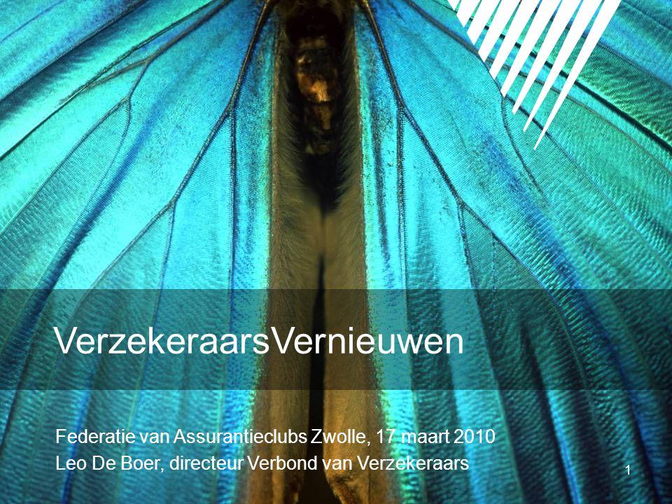 1 Federatie van Assurantieclubs Zwolle, 17 maart 2010 Leo De Boer, directeur Verbond van Verzekeraars VerzekeraarsVernieuwen