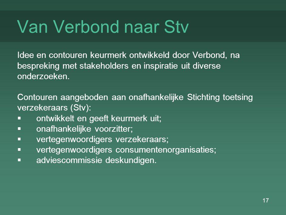 17 Van Verbond naar Stv Idee en contouren keurmerk ontwikkeld door Verbond, na bespreking met stakeholders en inspiratie uit diverse onderzoeken.