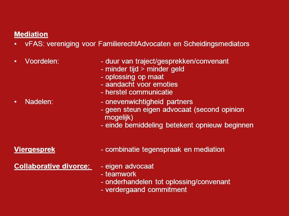 Convenant Ouderschapsplan:- zorgverdeling (o.a.co-ouderschap) - consultatie en informatie - financiële regeling kinderen Kinderalimentatie:- Tabel eigen aandeel in de kosten van de kinderen; gezinsinkomen, leeftijd kinderen, gezinssamenstelling - onbelast bij ontvanger, - buitengewone lastenaftrek bij betaler (€137,=p.m.p.k.) Partneralimentatie:grondslag voor partneralimentatie: HR: lotsverbondenheid door het huwelijk geschapen wet: artikel 1: 157 Burgerlijk Wetboek Verdeling huwelijksgoederengemeenschap/afwikkeling huwelijksvoorwaarden Pensioenaanspraken Overig