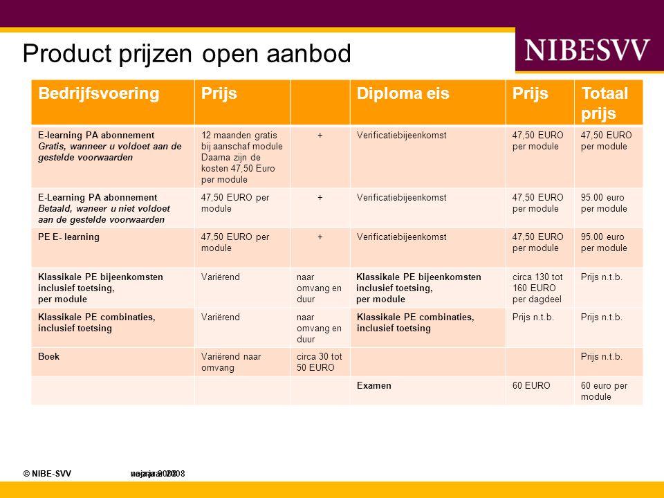 © NIBE-SVV najaar 2008© NIBE-SVV voorjaar 2008 Product prijzen open aanbod BedrijfsvoeringPrijsDiploma eisPrijsTotaal prijs E-learning PA abonnement G