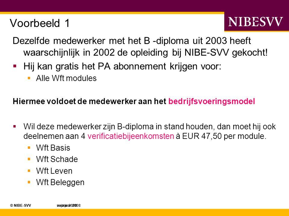© NIBE-SVV najaar 2008© NIBE-SVV voorjaar 2008 Voorbeeld 1 Dezelfde medewerker met het B -diploma uit 2003 heeft waarschijnlijk in 2002 de opleiding b