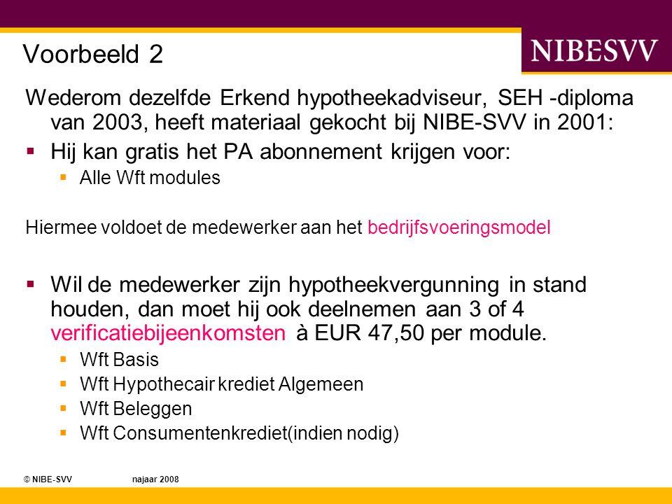 © NIBE-SVV najaar 2008 Voorbeeld 2 Wederom dezelfde Erkend hypotheekadviseur, SEH -diploma van 2003, heeft materiaal gekocht bij NIBE-SVV in 2001:  H