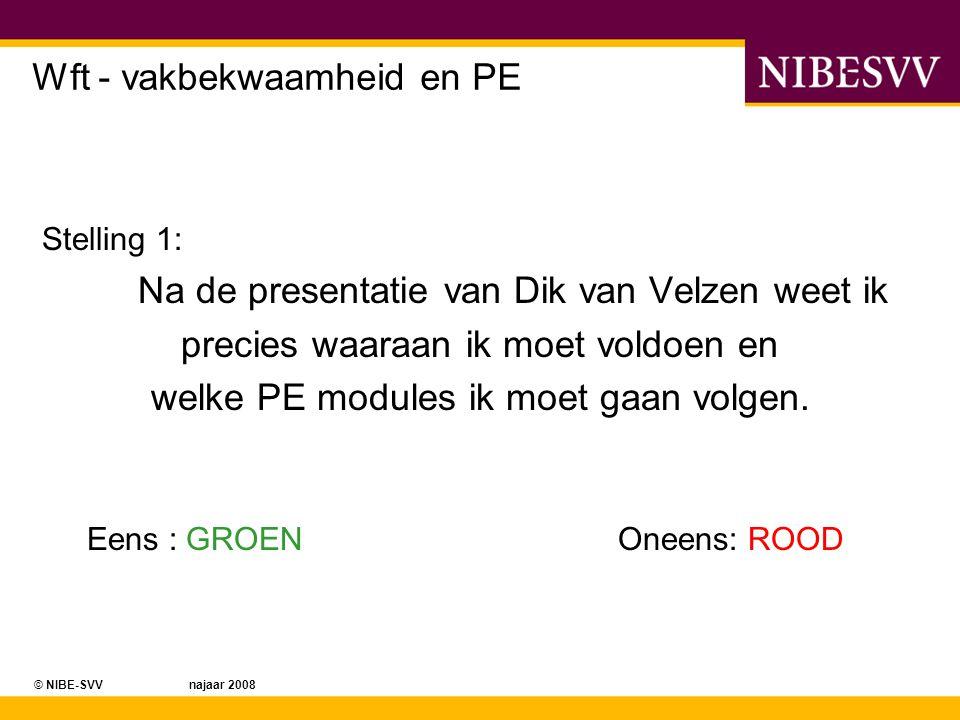© NIBE-SVV najaar 2008 Wft - vakbekwaamheid en PE Stelling 1: Na de presentatie van Dik van Velzen weet ik precies waaraan ik moet voldoen en welke PE