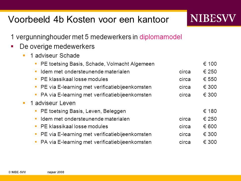 © NIBE-SVV najaar 2008 Voorbeeld 4b Kosten voor een kantoor 1 vergunninghouder met 5 medewerkers in diplomamodel  De overige medewerkers  1 adviseur