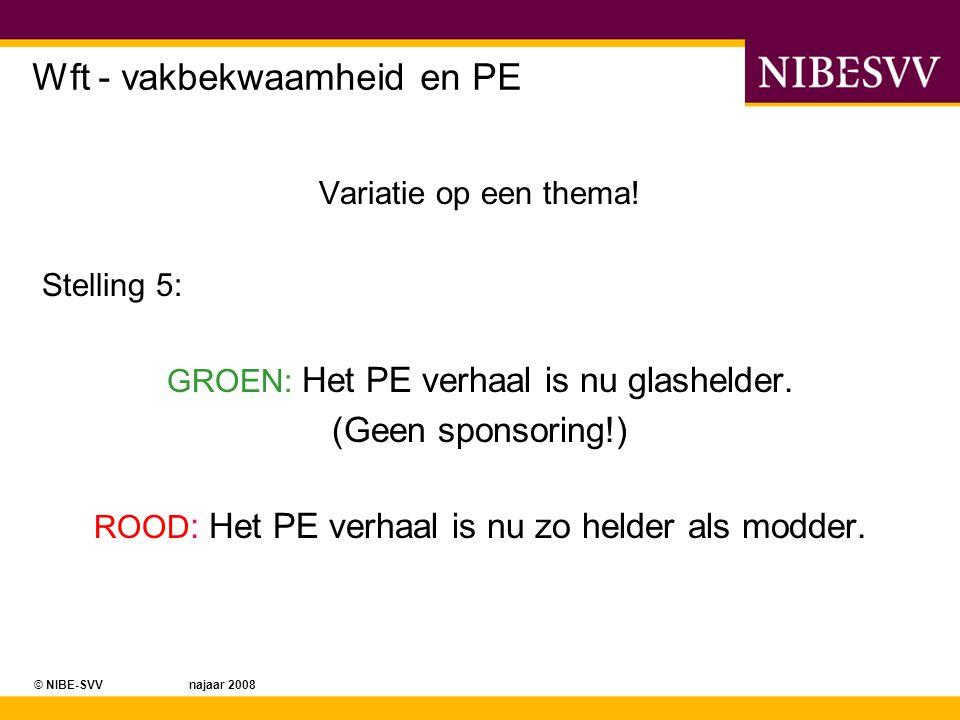 © NIBE-SVV najaar 2008 Wft - vakbekwaamheid en PE Variatie op een thema! Stelling 5: GROEN: Het PE verhaal is nu glashelder. (Geen sponsoring!) ROOD :