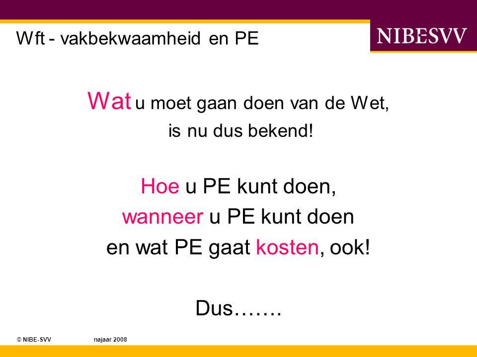 © NIBE-SVV najaar 2008 Wft - vakbekwaamheid en PE Wat u moet gaan doen van de Wet, is nu dus bekend! Hoe u PE kunt doen, wanneer u PE kunt doen en wat