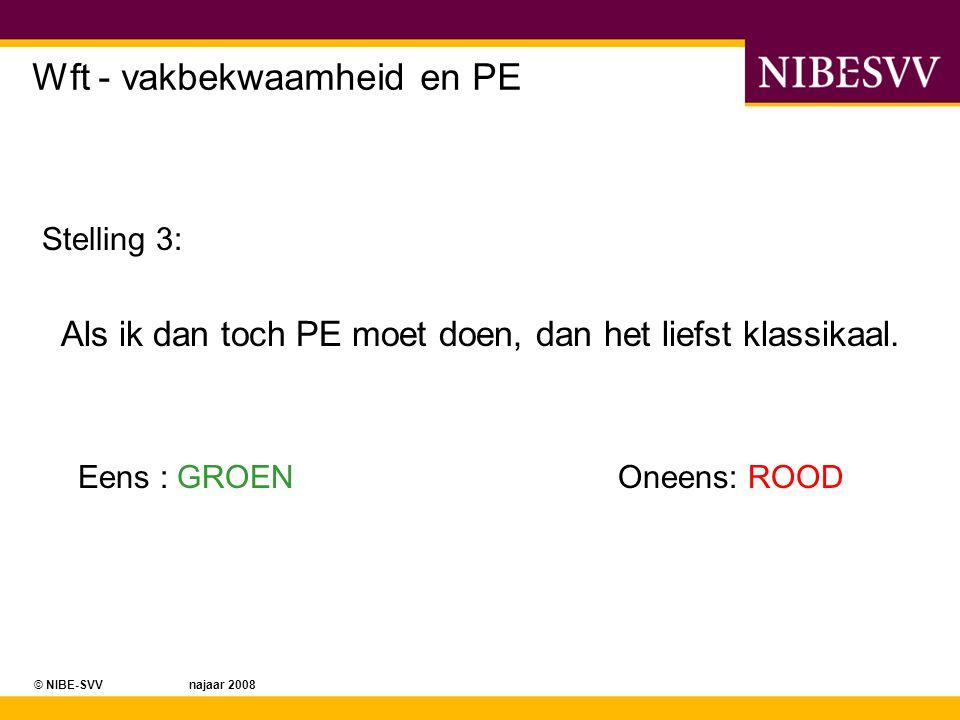 © NIBE-SVV najaar 2008 Wft - vakbekwaamheid en PE Stelling 3: Als ik dan toch PE moet doen, dan het liefst klassikaal. Eens : GROENOneens: ROOD