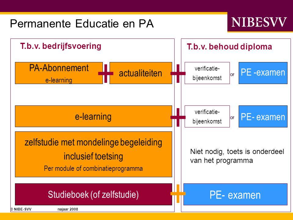 © NIBE-SVV najaar 2008 PA-Abonnement e-learning actualiteiten e-learning Studieboek (of zelfstudie) verificatie- bijeenkomst PE -examen OF PE- examen