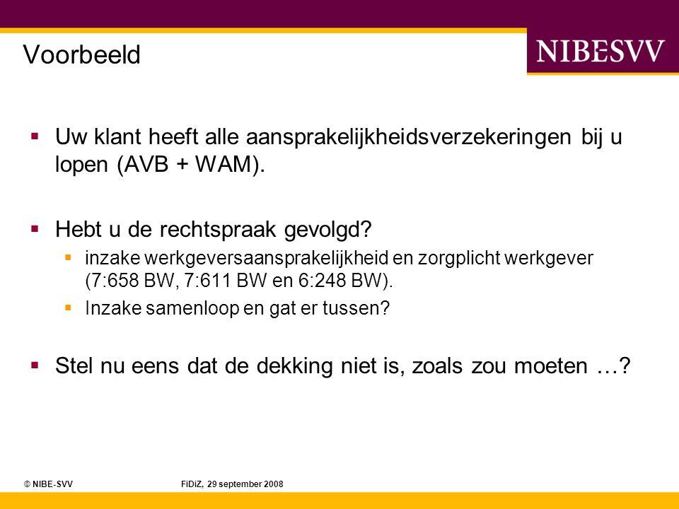 © NIBE-SVV FiDiZ, 29 september 2008 Voorbeeld  U hebt 5 jaar geleden een schade-AOV verkocht aan een van uw klanten.