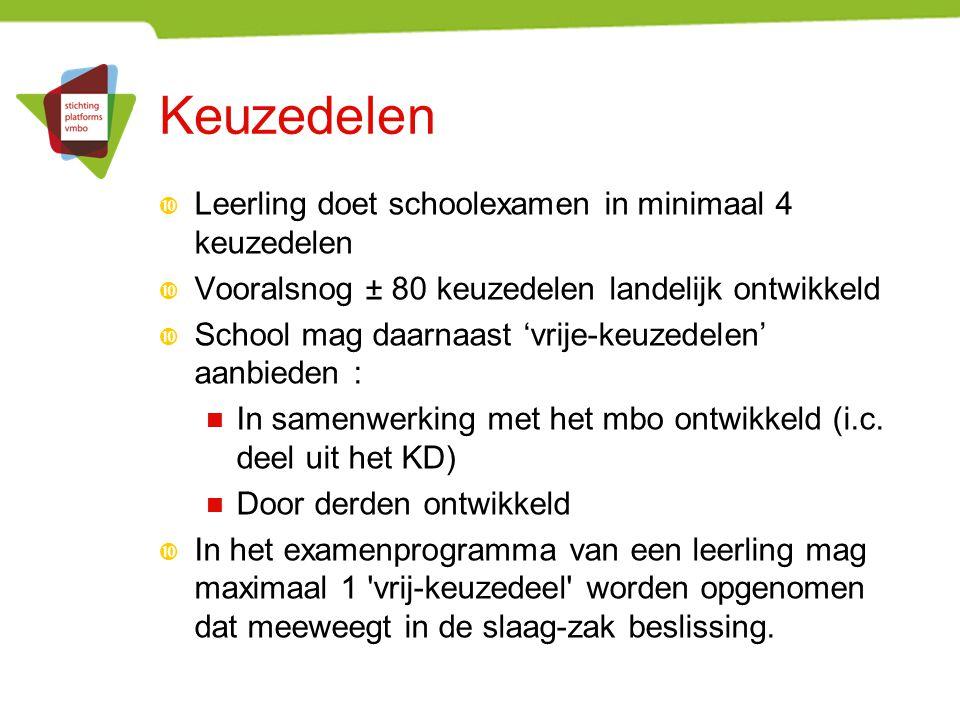 Keuzedelen  Leerling doet schoolexamen in minimaal 4 keuzedelen  Vooralsnog ± 80 keuzedelen landelijk ontwikkeld  School mag daarnaast 'vrije-keuzedelen' aanbieden : In samenwerking met het mbo ontwikkeld (i.c.