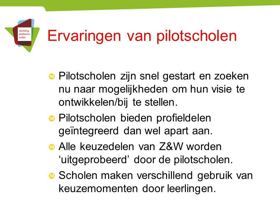 Ervaringen van pilotscholen  Pilotscholen zijn snel gestart en zoeken nu naar mogelijkheden om hun visie te ontwikkelen/bij te stellen.  Pilotschole