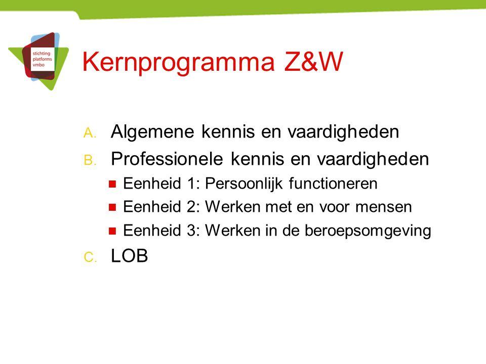 Kernprogramma Z&W A.Algemene kennis en vaardigheden B.