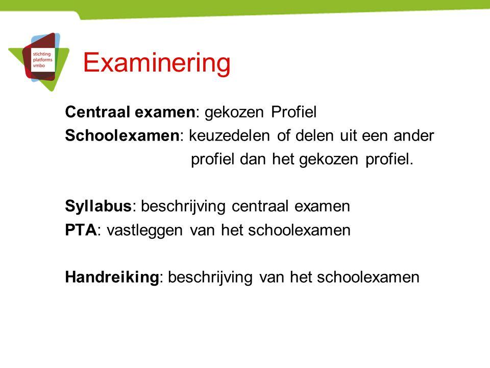 Examinering Centraal examen: gekozen Profiel Schoolexamen: keuzedelen of delen uit een ander profiel dan het gekozen profiel. Syllabus: beschrijving c
