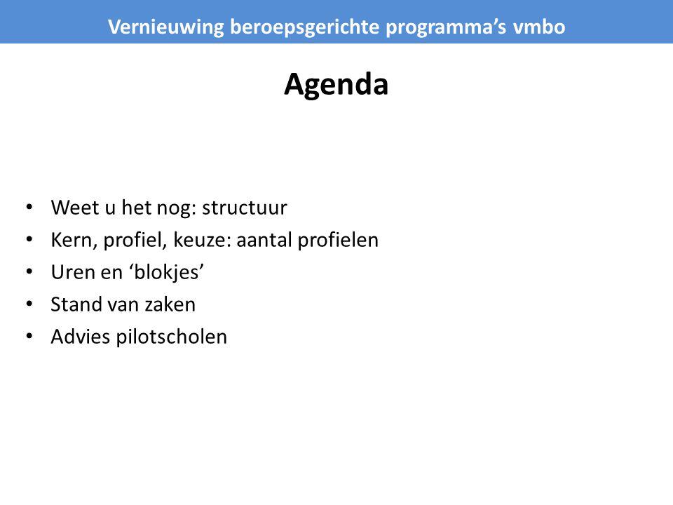 Agenda Weet u het nog: structuur Kern, profiel, keuze: aantal profielen Uren en 'blokjes' Stand van zaken Advies pilotscholen Vernieuwing beroepsgerichte programma's vmbo