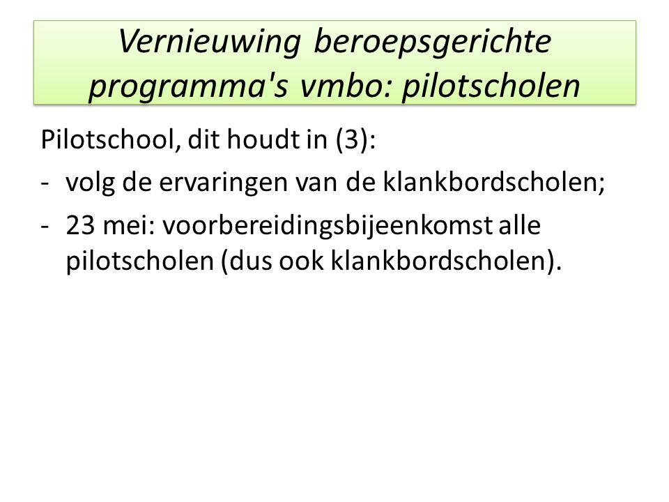 Vernieuwing beroepsgerichte programma's vmbo: pilotscholen Pilotschool, dit houdt in (3): -volg de ervaringen van de klankbordscholen; -23 mei: voorbe
