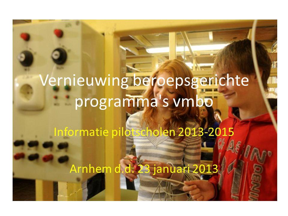 Vernieuwing beroepsgerichte programma's vmbo Informatie pilotscholen 2013-2015 Arnhem d.d. 23 januari 2013