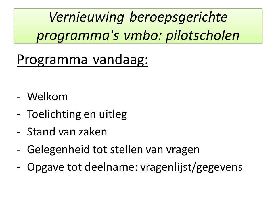 Vernieuwing beroepsgerichte programma's vmbo: pilotscholen Programma vandaag: -Welkom -Toelichting en uitleg -Stand van zaken -Gelegenheid tot stellen