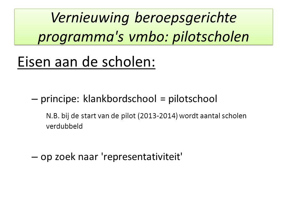 Vernieuwing beroepsgerichte programma's vmbo: pilotscholen Eisen aan de scholen: – principe: klankbordschool = pilotschool N.B. bij de start van de pi