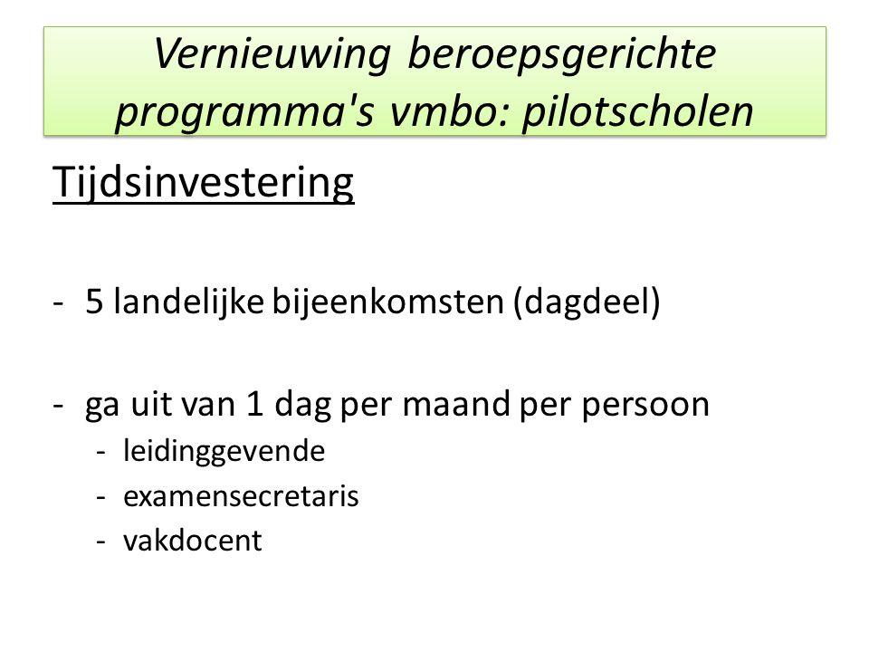 Vernieuwing beroepsgerichte programma's vmbo: pilotscholen Tijdsinvestering -5 landelijke bijeenkomsten (dagdeel) -ga uit van 1 dag per maand per pers