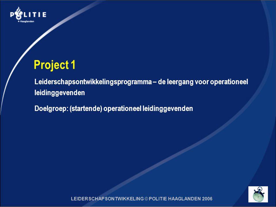 LEIDERSCHAPSONTWIKKELING © POLITIE HAAGLANDEN 2006 Project 1 Leiderschapsontwikkelingsprogramma – de leergang voor operationeel leidinggevenden Doelgroep: (startende) operationeel leidinggevenden