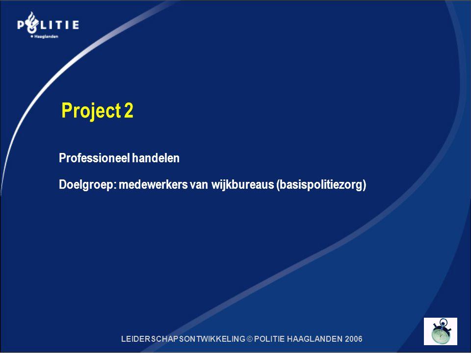 LEIDERSCHAPSONTWIKKELING © POLITIE HAAGLANDEN 2006 Project 2 Professioneel handelen Doelgroep: medewerkers van wijkbureaus (basispolitiezorg)