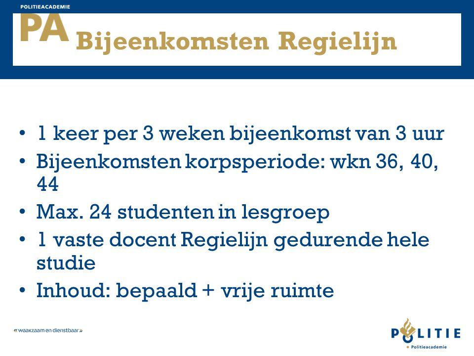 Bijeenkomsten Regielijn 1 keer per 3 weken bijeenkomst van 3 uur Bijeenkomsten korpsperiode: wkn 36, 40, 44 Max. 24 studenten in lesgroep 1 vaste doce