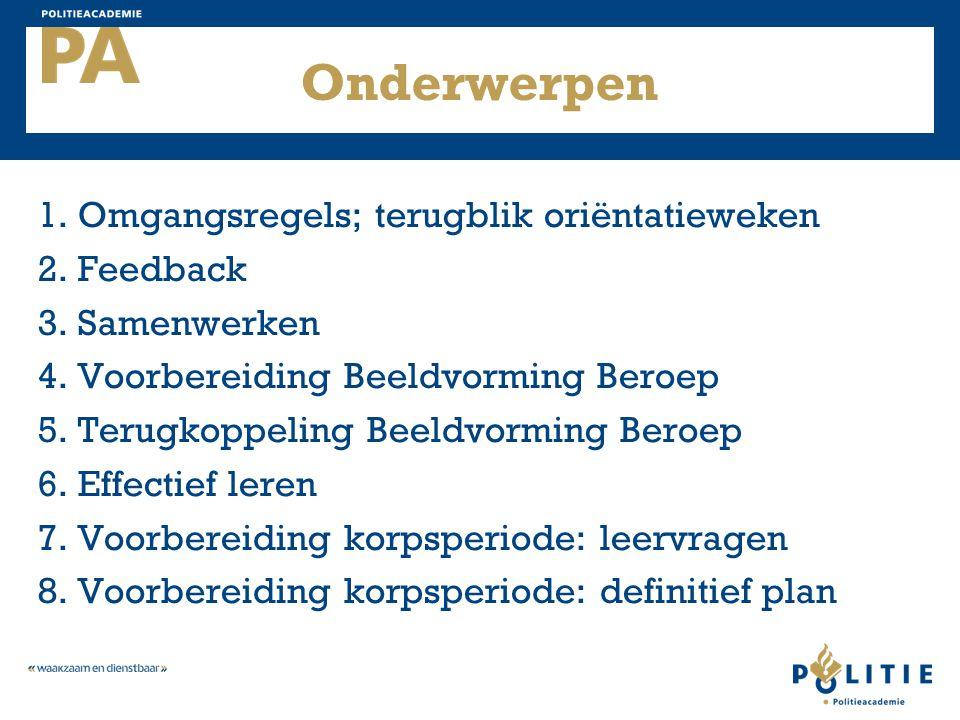 Onderwerpen 1. Omgangsregels; terugblik oriëntatieweken 2. Feedback 3. Samenwerken 4. Voorbereiding Beeldvorming Beroep 5. Terugkoppeling Beeldvorming